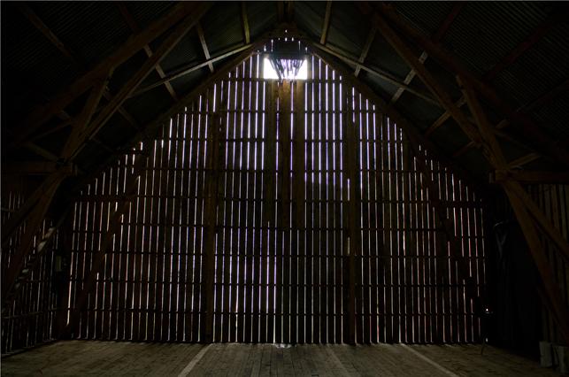Intermezzo indoors, seen from the barn entrance